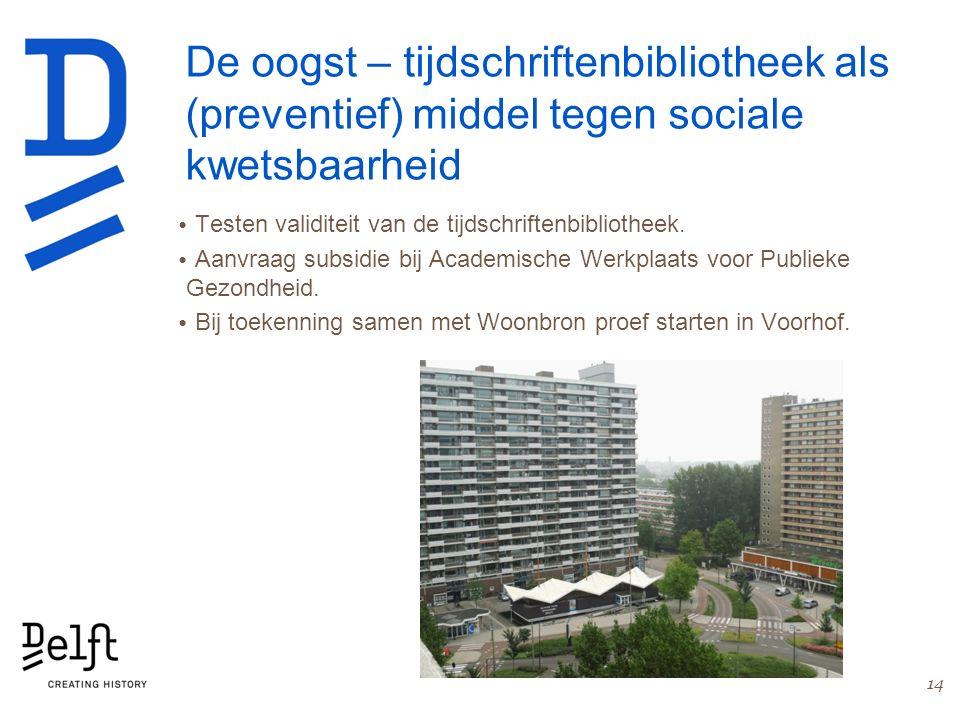 De oogst – tijdschriftenbibliotheek als (preventief) middel tegen sociale kwetsbaarheid Testen validiteit van de tijdschriftenbibliotheek. Aanvraag su