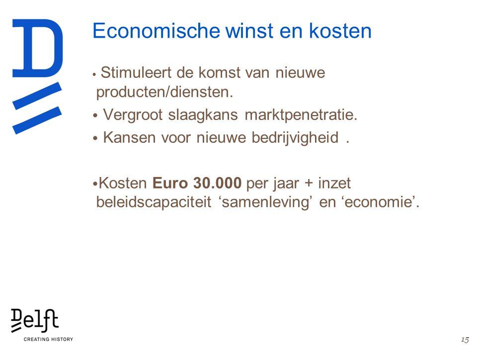 Economische winst en kosten Stimuleert de komst van nieuwe producten/diensten. Vergroot slaagkans marktpenetratie. Kansen voor nieuwe bedrijvigheid. K