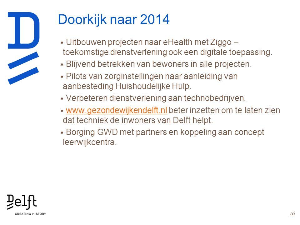 Doorkijk naar 2014 Uitbouwen projecten naar eHealth met Ziggo – toekomstige dienstverlening ook een digitale toepassing. Blijvend betrekken van bewone