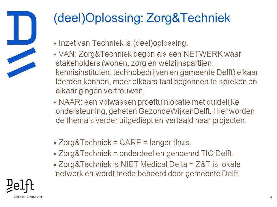 (deel)Oplossing: Zorg&Techniek Inzet van Techniek is (deel)oplossing. VAN: Zorg&Techniek begon als een NETWERK waar stakeholders (wonen, zorg en welzi