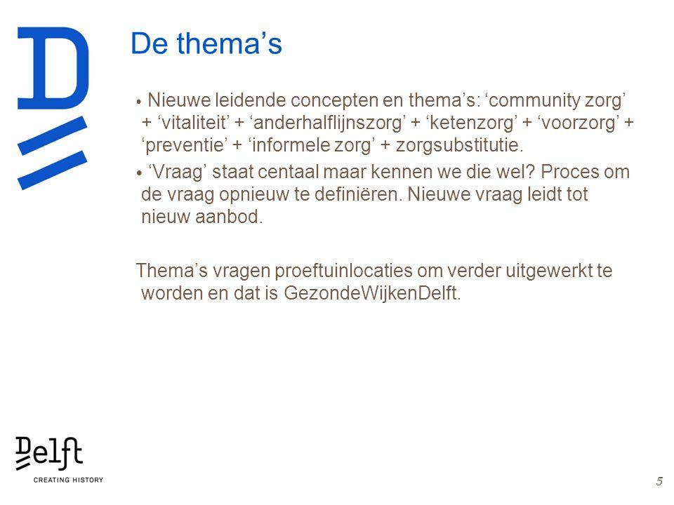 De thema's Nieuwe leidende concepten en thema's: 'community zorg' + 'vitaliteit' + 'anderhalflijnszorg' + 'ketenzorg' + 'voorzorg' + 'preventie' + 'informele zorg' + zorgsubstitutie.