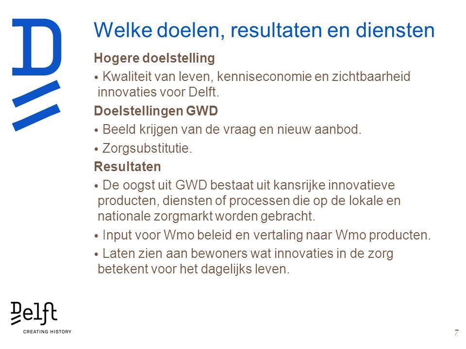 Welke doelen, resultaten en diensten Hogere doelstelling Kwaliteit van leven, kenniseconomie en zichtbaarheid innovaties voor Delft. Doelstellingen GW