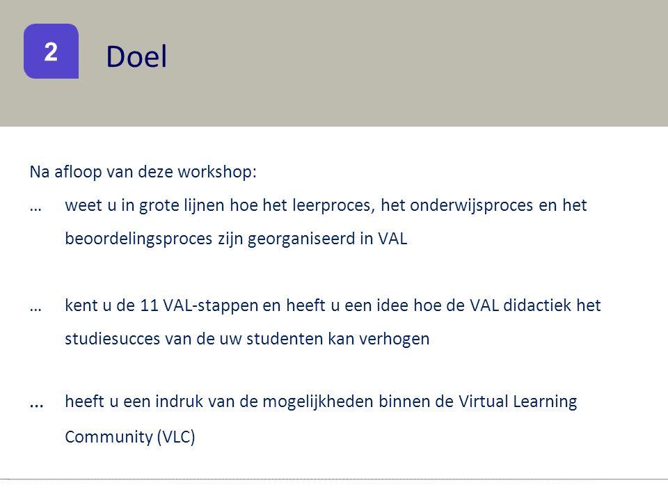 Doel Na afloop van deze workshop: … weet u in grote lijnen hoe het leerproces, het onderwijsproces en het beoordelingsproces zijn georganiseerd in VAL …kent u de 11 VAL-stappen en heeft u een idee hoe de VAL didactiek het studiesucces van de uw studenten kan verhogen … heeft u een indruk van de mogelijkheden binnen de Virtual Learning Community (VLC) 2