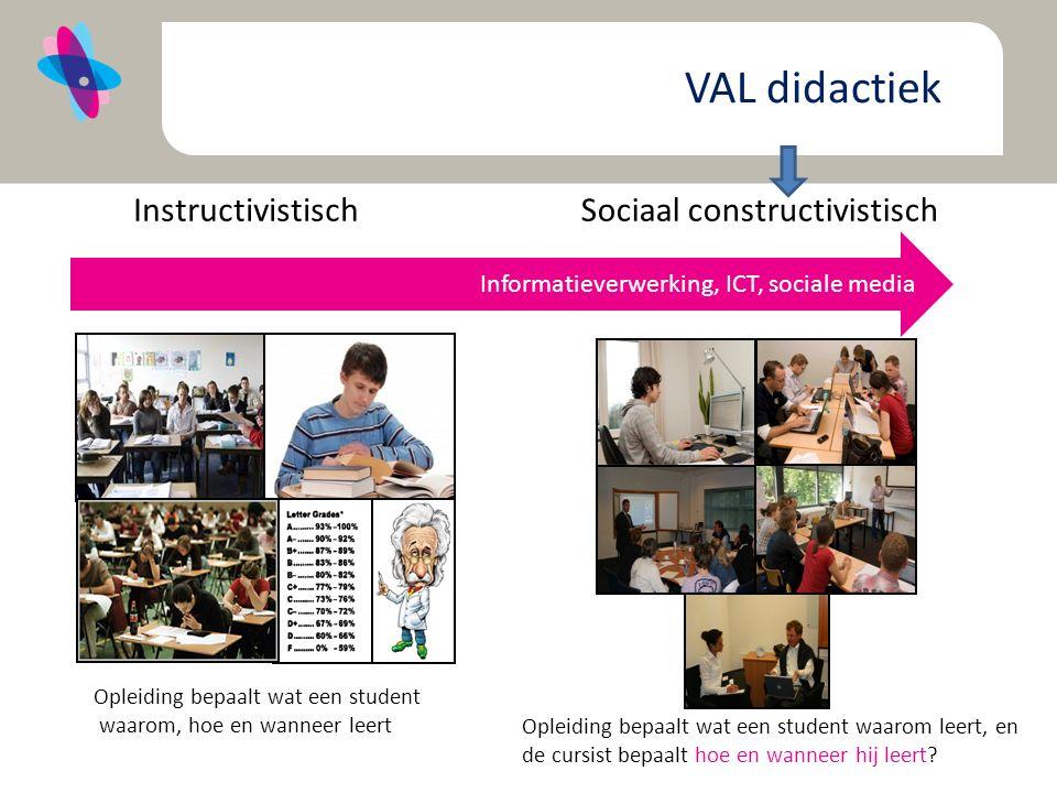 Informatieverwerking, ICT, sociale media Sociaal constructivistisch Opleiding bepaalt wat een student waarom, hoe en wanneer leert Opleiding bepaalt wat een student waarom leert, en de cursist bepaalt hoe en wanneer hij leert.