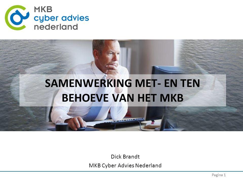 Pagina 1 SAMENWERKING MET- EN TEN BEHOEVE VAN HET MKB Dick Brandt MKB Cyber Advies Nederland