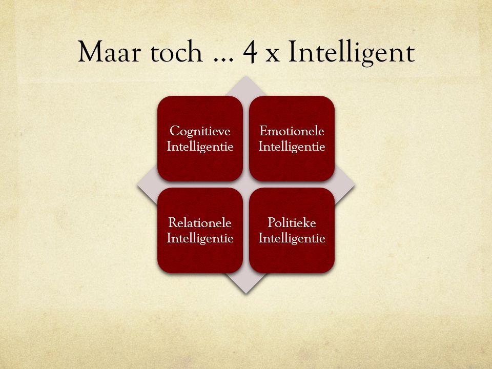 Maar toch... 4 x Intelligent Cognitieve Intelligentie Emotionele Intelligentie Relationele Intelligentie Politieke Intelligentie