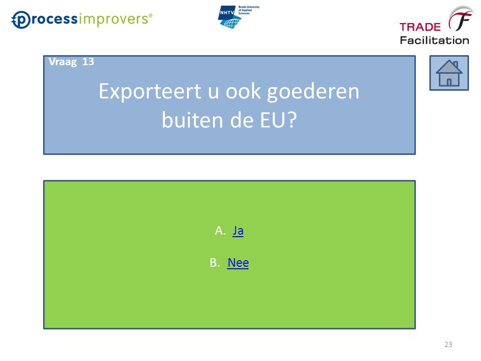 Exporteert u ook goederen buiten de EU? A.JaJa B.NeeNee Vraag 13 23