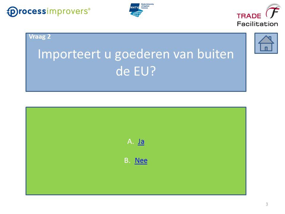 Importeert u goederen van buiten de EU? A.JaJa B.NeeNee 3 Vraag 2