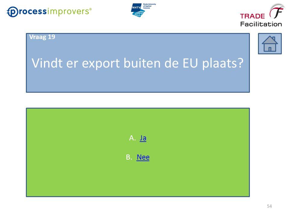 Vindt er export buiten de EU plaats Vraag 19 A.JaJa B.NeeNee 54