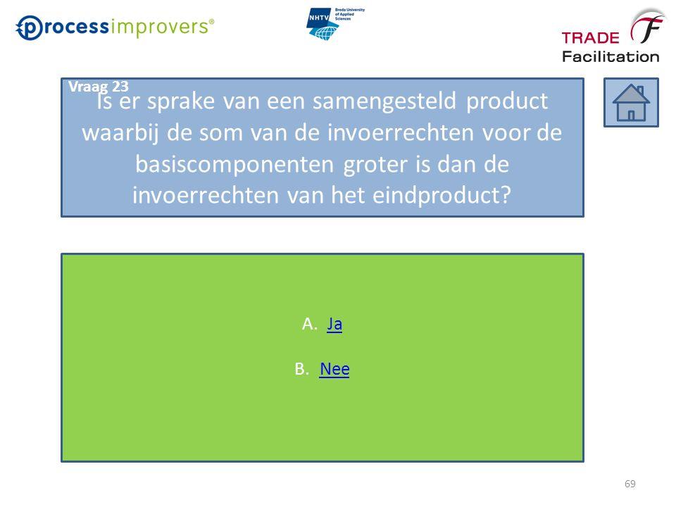 Is er sprake van een samengesteld product waarbij de som van de invoerrechten voor de basiscomponenten groter is dan de invoerrechten van het eindproduct.