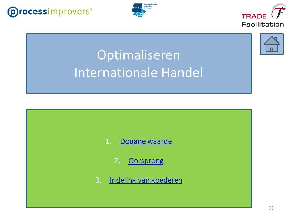 Optimaliseren Internationale Handel 1.Douane waardeDouane waarde 2.OorsprongOorsprong 3.Indeling van goederenIndeling van goederen 90