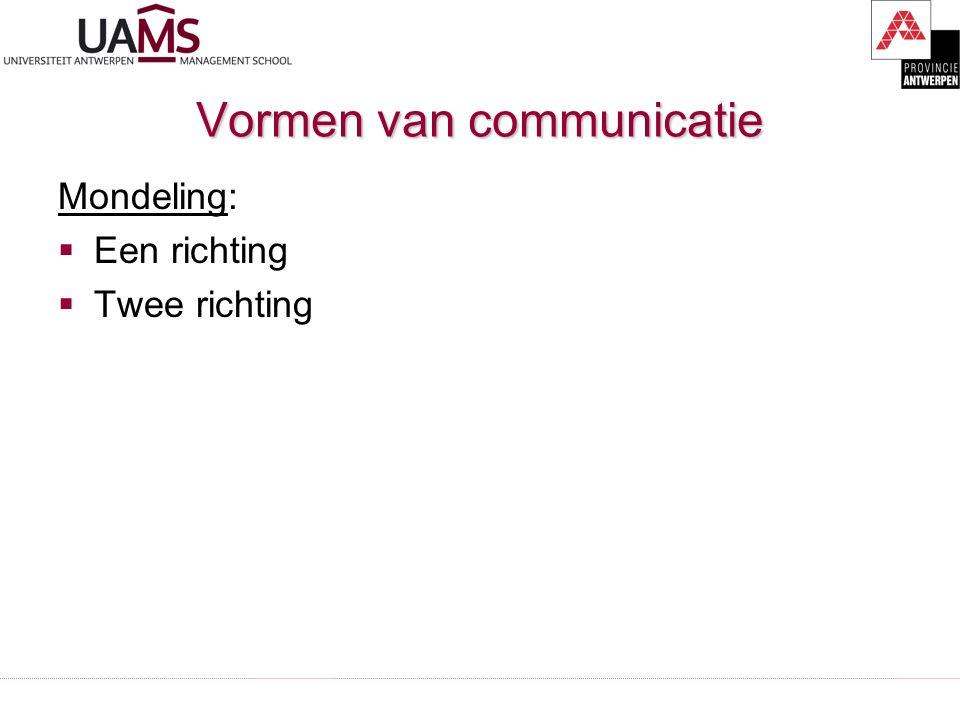 Vormen van communicatie Mondeling:  Een richting  Twee richting