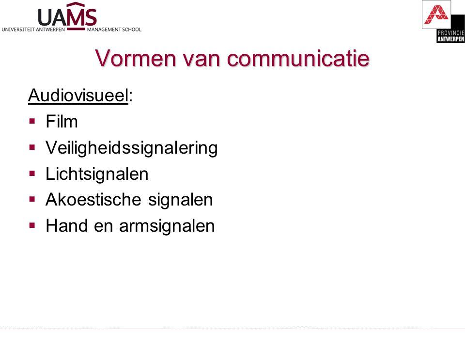 Vormen van communicatie Audiovisueel:  Film  Veiligheidssignalering  Lichtsignalen  Akoestische signalen  Hand en armsignalen