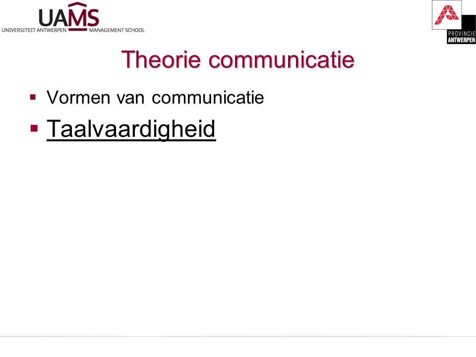 Theorie communicatie  Vormen van communicatie  Taalvaardigheid