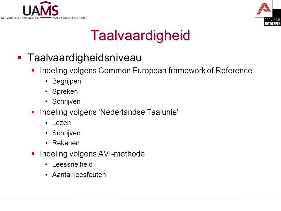 Taalvaardigheid  Taalvaardigheidsniveau  Indeling volgens Common European framework of Reference Begrijpen Spreken Schrijven  Indeling volgens 'Nederlandse Taalunie' Lezen Schrijven Rekenen  Indeling volgens AVI-methode Leessnelheid Aantal leesfouten