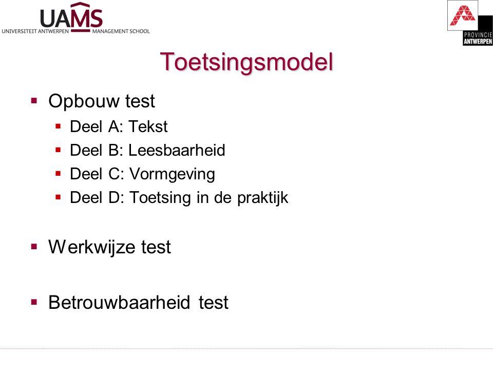 Toetsingsmodel  Opbouw test  Deel A: Tekst  Deel B: Leesbaarheid  Deel C: Vormgeving  Deel D: Toetsing in de praktijk  Werkwijze test  Betrouwb