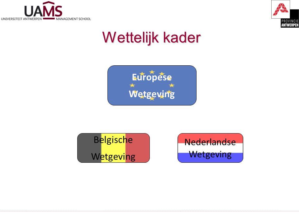 Wettelijk kader Wettelijk kader Europese Wetgeving Belgische Wetgeving Nederlandse Wetgeving