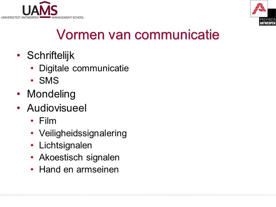 Vormen van communicatie Schriftelijk Digitale communicatie SMS Mondeling Audiovisueel Film Veiligheidssignalering Lichtsignalen Akoestisch signalen Hand en armseinen