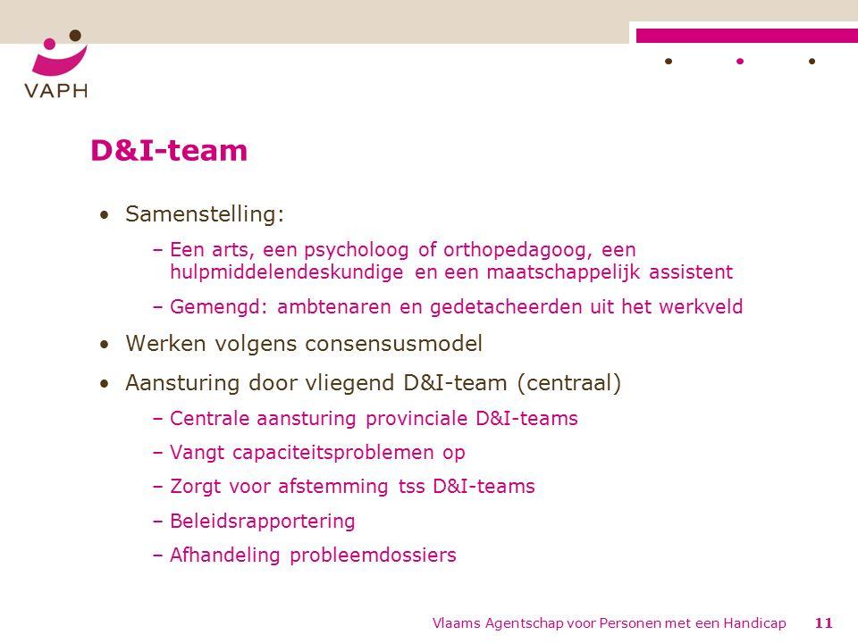 D&I-team Samenstelling: –Een arts, een psycholoog of orthopedagoog, een hulpmiddelendeskundige en een maatschappelijk assistent –Gemengd: ambtenaren en gedetacheerden uit het werkveld Werken volgens consensusmodel Aansturing door vliegend D&I-team (centraal) –Centrale aansturing provinciale D&I-teams –Vangt capaciteitsproblemen op –Zorgt voor afstemming tss D&I-teams –Beleidsrapportering –Afhandeling probleemdossiers 11Vlaams Agentschap voor Personen met een Handicap
