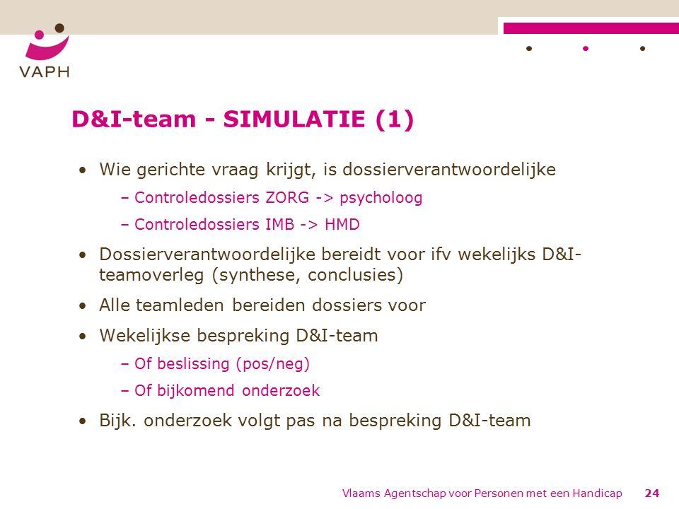 D&I-team - SIMULATIE (1) Wie gerichte vraag krijgt, is dossierverantwoordelijke –Controledossiers ZORG -> psycholoog –Controledossiers IMB -> HMD Dossierverantwoordelijke bereidt voor ifv wekelijks D&I- teamoverleg (synthese, conclusies) Alle teamleden bereiden dossiers voor Wekelijkse bespreking D&I-team –Of beslissing (pos/neg) –Of bijkomend onderzoek Bijk.