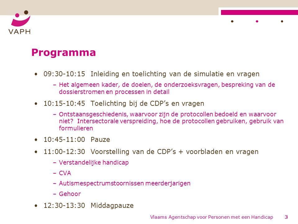 Ondersteuning/contact (1) Contactpersonen: Greet Callens, Jan Peeters, Marc Wouters –Telefoon: 02 225 86 29 –Email: simulatie.diagnose.indicatiestelling@vaph.be of sim-d-i@vaph.besimulatie.diagnose.indicatiestelling@vaph.be sim-d-i@vaph.be Inhoudelijke vragen over dossiers -> PA West-Vlaanderen –Telefoon: 050 40 67 11 114Vlaams Agentschap voor Personen met een Handicap