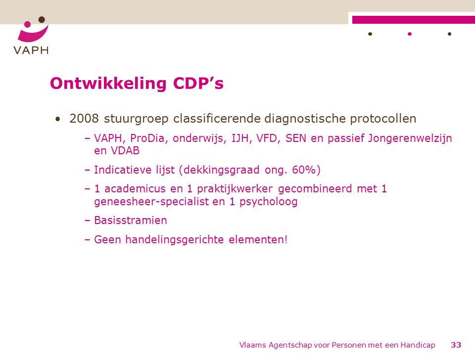 Ontwikkeling CDP's 2008 stuurgroep classificerende diagnostische protocollen –VAPH, ProDia, onderwijs, IJH, VFD, SEN en passief Jongerenwelzijn en VDAB –Indicatieve lijst (dekkingsgraad ong.