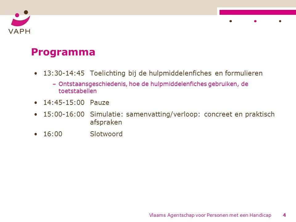 Ondersteuning/contact (2) Focusgroep (april 2012) -> invullen dagboek -> werkwijze zelf te kiezen, vrijblijvend een sjabloon op de website Tussentijds bezoek aan elk MDT uit de steekproef Veelgestelde vragen: –www.vaph.be -> nieuwe zorgprojecten -> Diagnose & Indicatiestelling (http://www.vaph.be/vlafo/view/nl/5766921- Documenten.html)www.vaph.behttp://www.vaph.be/vlafo/view/nl/5766921- Documenten.html Vlaams Agentschap voor Personen met een Handicap115