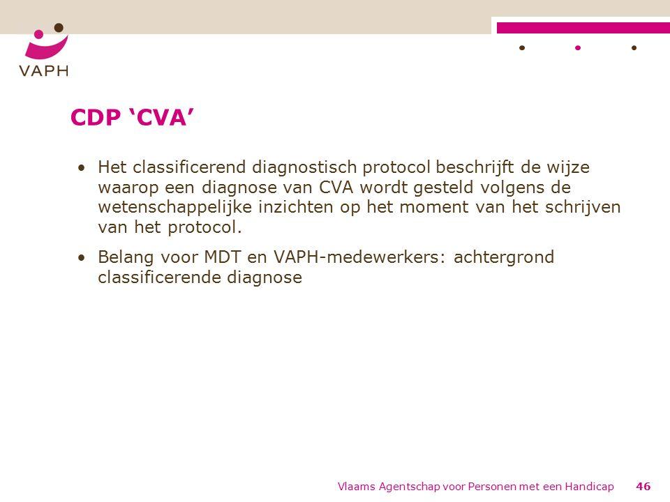 CDP 'CVA' Het classificerend diagnostisch protocol beschrijft de wijze waarop een diagnose van CVA wordt gesteld volgens de wetenschappelijke inzichten op het moment van het schrijven van het protocol.