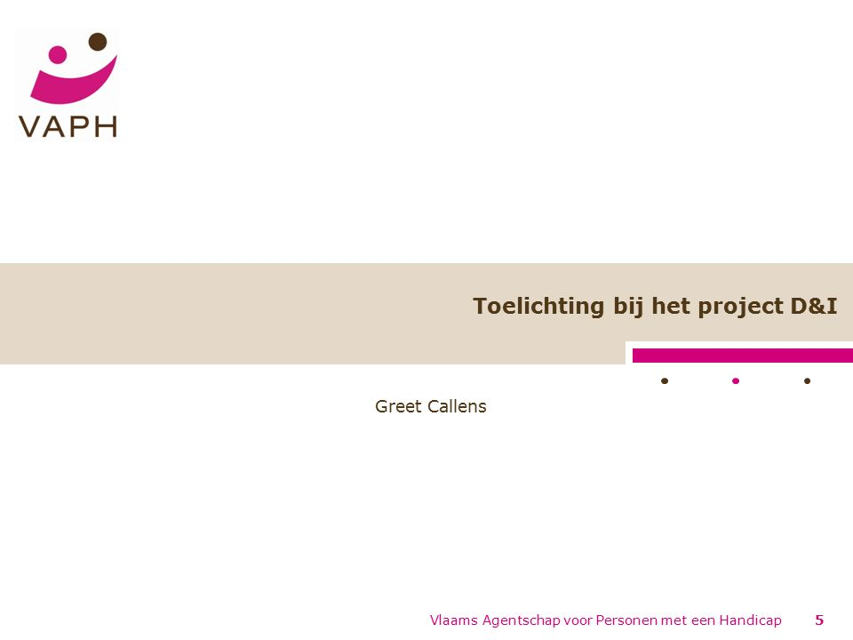 Project Diagnose- en Indicatiestelling : algemeen Hoorzittingen 2005 -> Visietekst en actieplan D&I Project D&I, twee hoofddoelen: –Administratieve vereenvoudiging –Kwalitatieve verbetering 6Vlaams Agentschap voor Personen met een Handicap