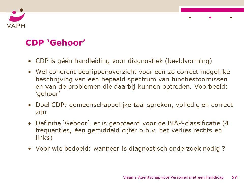 CDP 'Gehoor' CDP is géén handleiding voor diagnostiek (beeldvorming) Wel coherent begrippenoverzicht voor een zo correct mogelijke beschrijving van een bepaald spectrum van functiestoornissen en van de problemen die daarbij kunnen optreden.