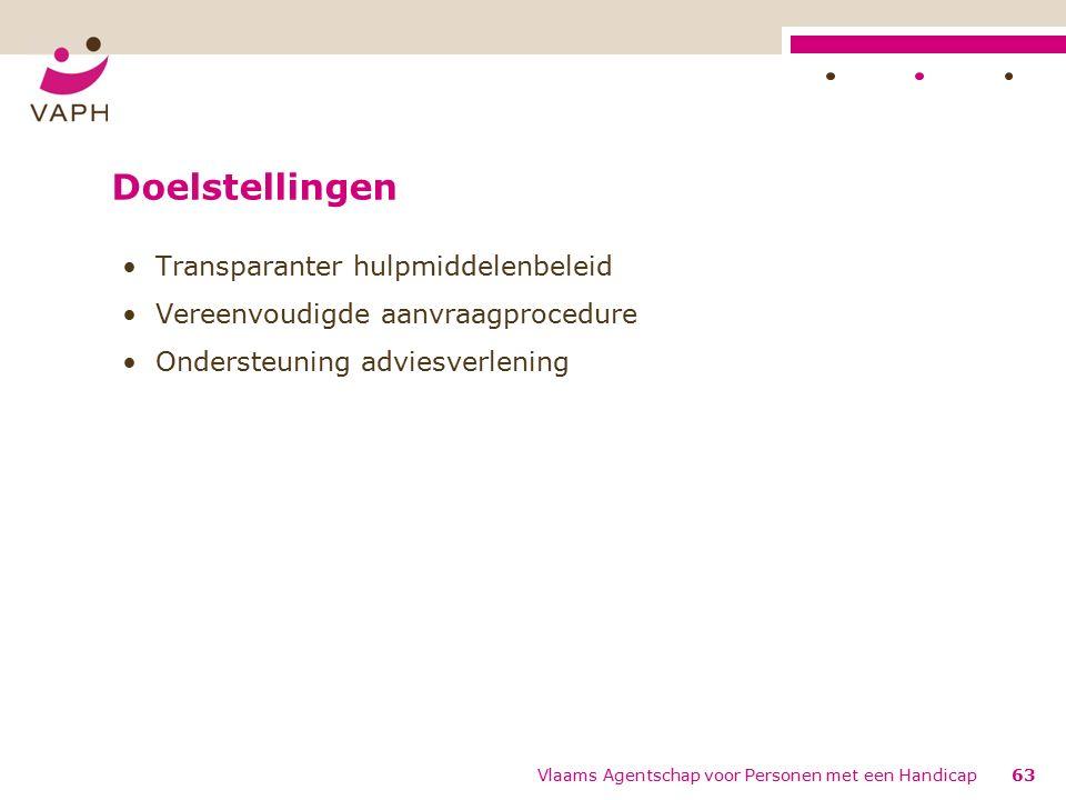 Doelstellingen Transparanter hulpmiddelenbeleid Vereenvoudigde aanvraagprocedure Ondersteuning adviesverlening 63Vlaams Agentschap voor Personen met een Handicap