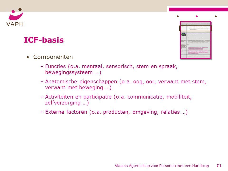 ICF-basis Componenten –Functies (o.a.