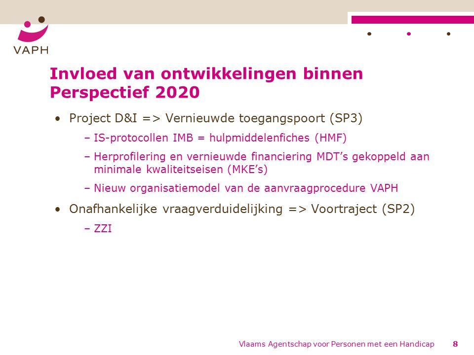 Invloed van ontwikkelingen binnen Perspectief 2020 Project D&I => Vernieuwde toegangspoort (SP3) –IS-protocollen IMB = hulpmiddelenfiches (HMF) –Herprofilering en vernieuwde financiering MDT's gekoppeld aan minimale kwaliteitseisen (MKE's) –Nieuw organisatiemodel van de aanvraagprocedure VAPH Onafhankelijke vraagverduidelijking => Voortraject (SP2) –ZZI 8Vlaams Agentschap voor Personen met een Handicap