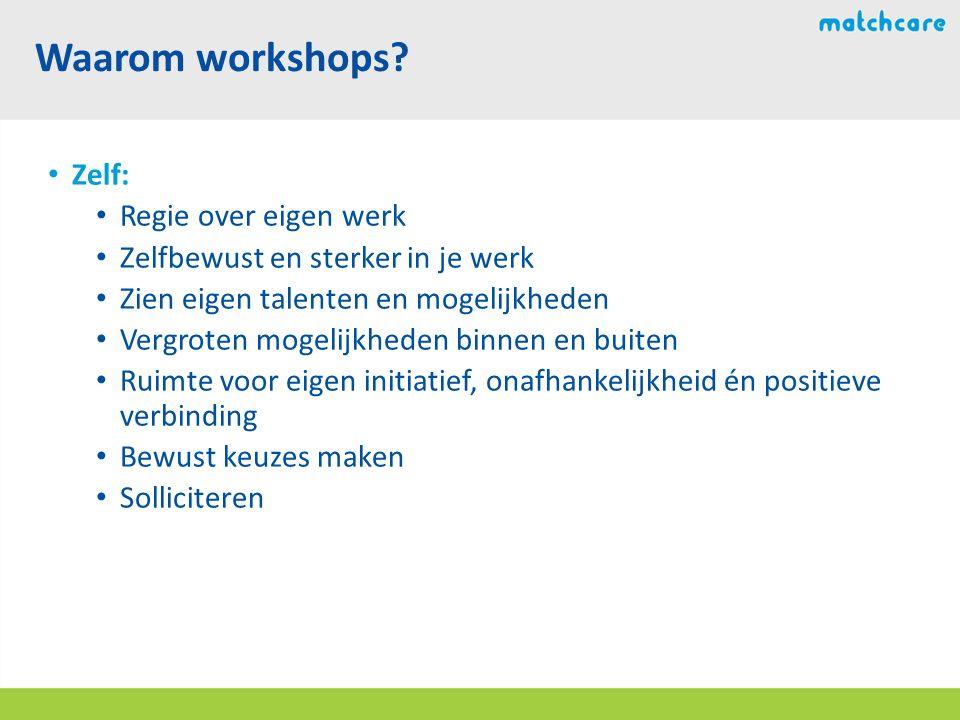 Waarom workshops.