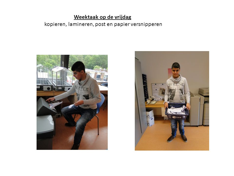 Weektaak op de vrijdag kopieren, lamineren, post en papier versnipperen