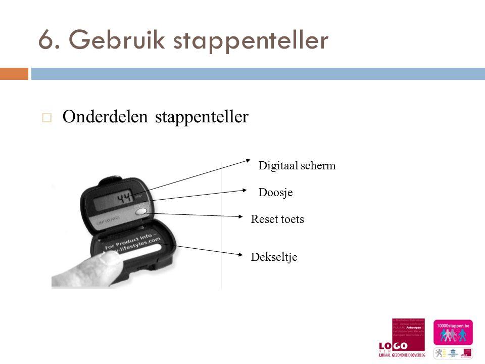6. Gebruik stappenteller  Onderdelen stappenteller Digitaal scherm Doosje Reset toets Dekseltje