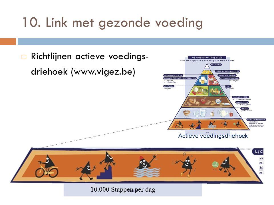 10. Link met gezonde voeding  Richtlijnen actieve voedings- driehoek (www.vigez.be) Actieve voedingsdriehoek 10.000 Stappen per dag