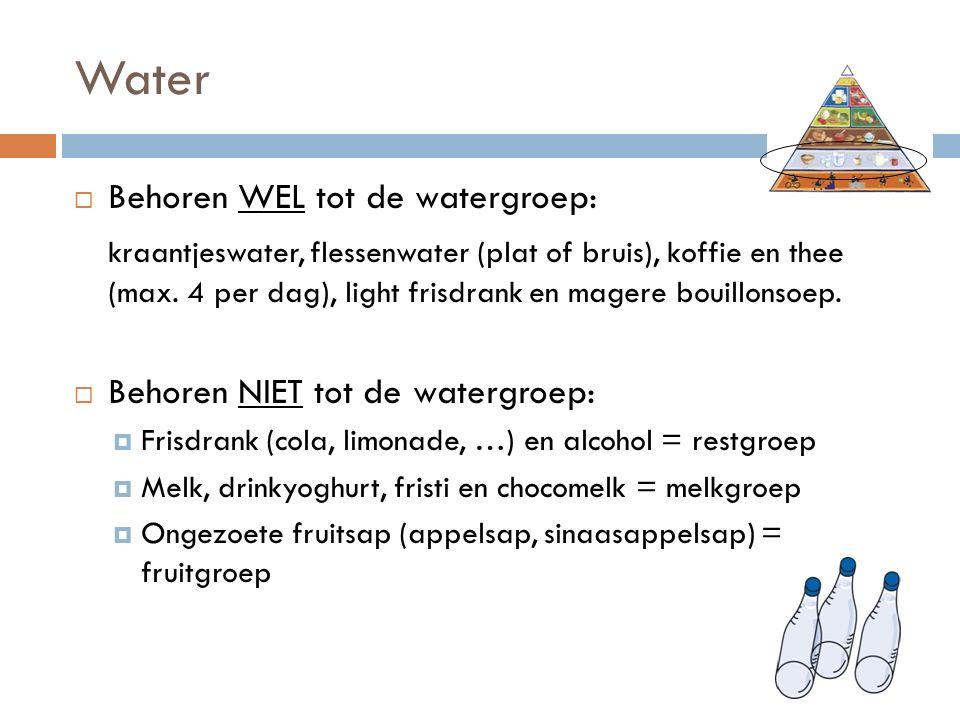 Water  Behoren WEL tot de watergroep: kraantjeswater, flessenwater (plat of bruis), koffie en thee (max.