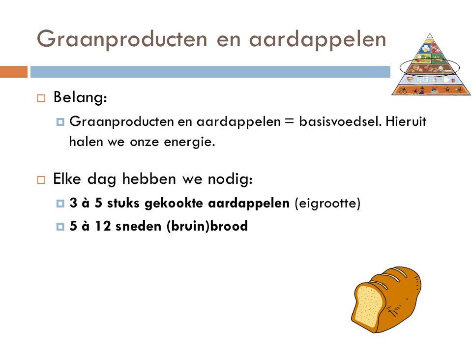 Graanproducten en aardappelen  Belang:  Graanproducten en aardappelen = basisvoedsel.