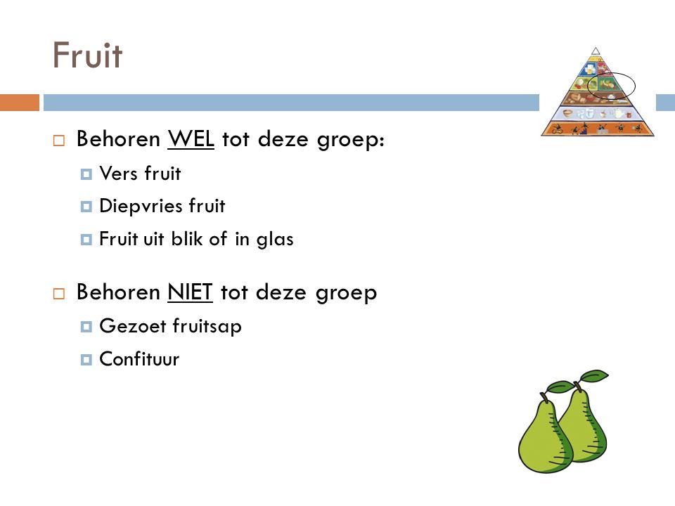 Fruit  Behoren WEL tot deze groep:  Vers fruit  Diepvries fruit  Fruit uit blik of in glas  Behoren NIET tot deze groep  Gezoet fruitsap  Confituur