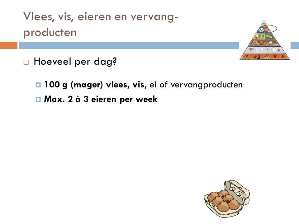 Vlees, vis, eieren en vervang- producten  Hoeveel per dag?  100 g (mager) vlees, vis, ei of vervangproducten  Max. 2 à 3 eieren per week