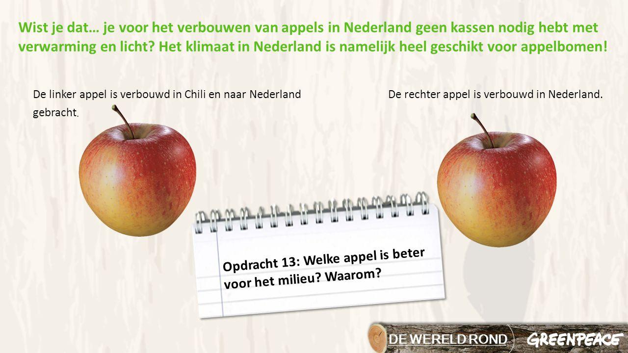DE WERELD ROND Opdracht 13: Welke appel is beter voor het milieu? Waarom? De rechter appel is verbouwd in Nederland.De linker appel is verbouwd in Chi