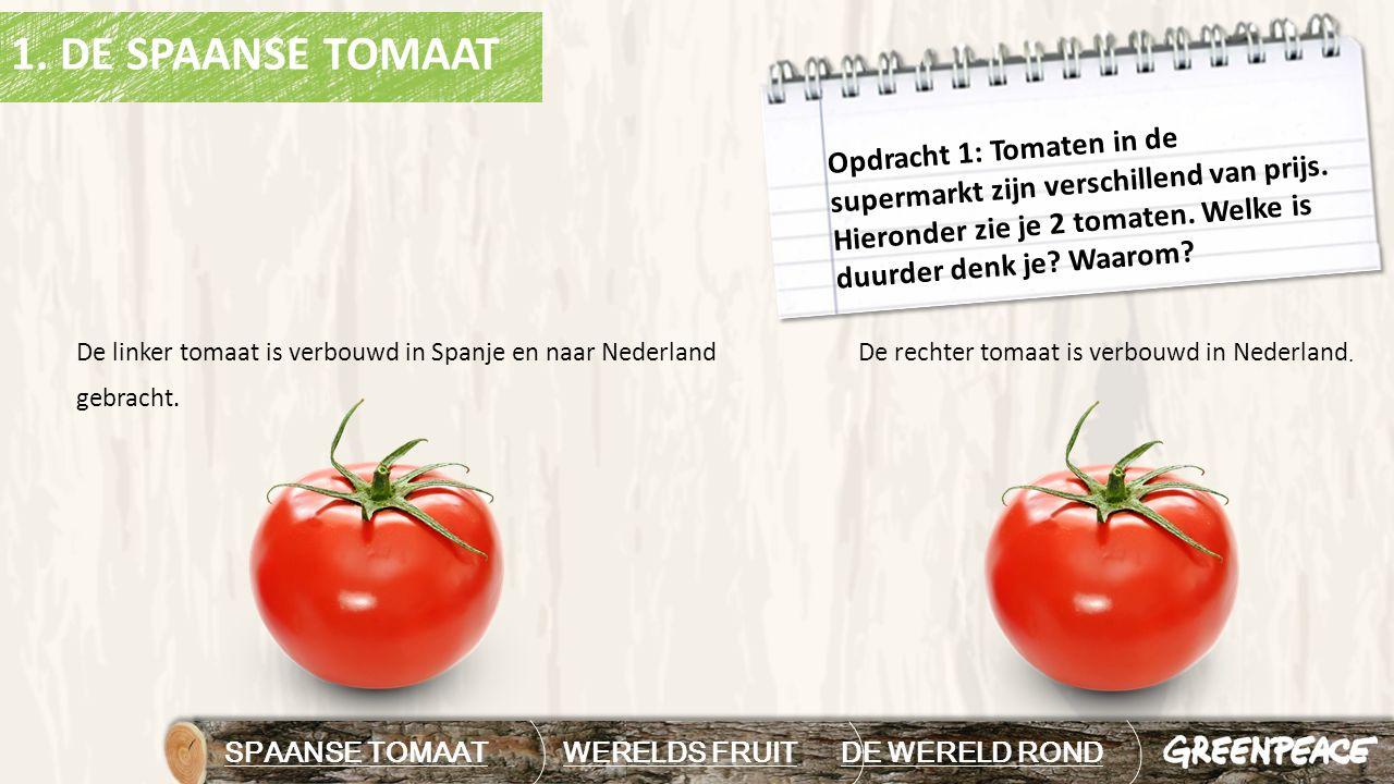 DE WERELD ROND In het filmpje over tuinbouw zag je dat de tomaten vanuit Spanje naar Nederland vervoerd werden.