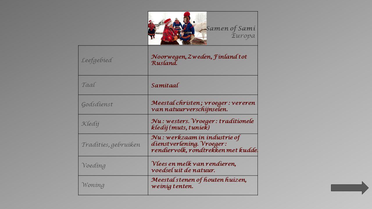 Samen of Sami Europa Leefgebied Taal Godsdienst Kledij Tradities, gebruiken Voeding Woning Noorwegen, Zweden, Finland tot Rusland.