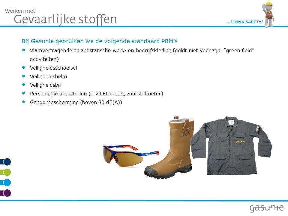Bij Gasunie gebruiken we de volgende standaard PBM's Vlamvertragende en antistatische werk- en bedrijfskleding (geldt niet voor zgn.
