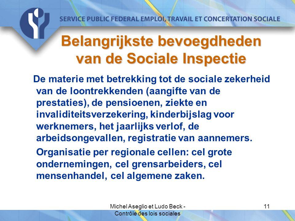 Michel Aseglio et Ludo Beck - Contrôle des lois sociales 11 Belangrijkste bevoegdheden van de Sociale Inspectie De materie met betrekking tot de sociale zekerheid van de loontrekkenden (aangifte van de prestaties), de pensioenen, ziekte en invaliditeitsverzekering, kinderbijslag voor werknemers, het jaarlijks verlof, de arbeidsongevallen, registratie van aannemers.