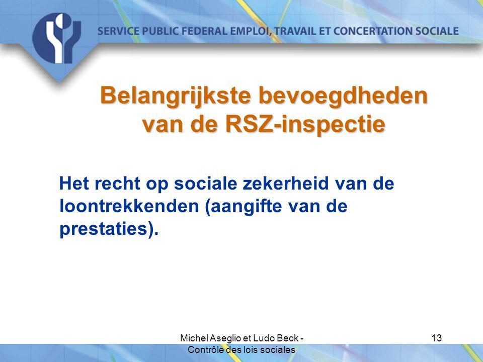 Michel Aseglio et Ludo Beck - Contrôle des lois sociales 13 Belangrijkste bevoegdheden van de RSZ-inspectie Het recht op sociale zekerheid van de loontrekkenden (aangifte van de prestaties).