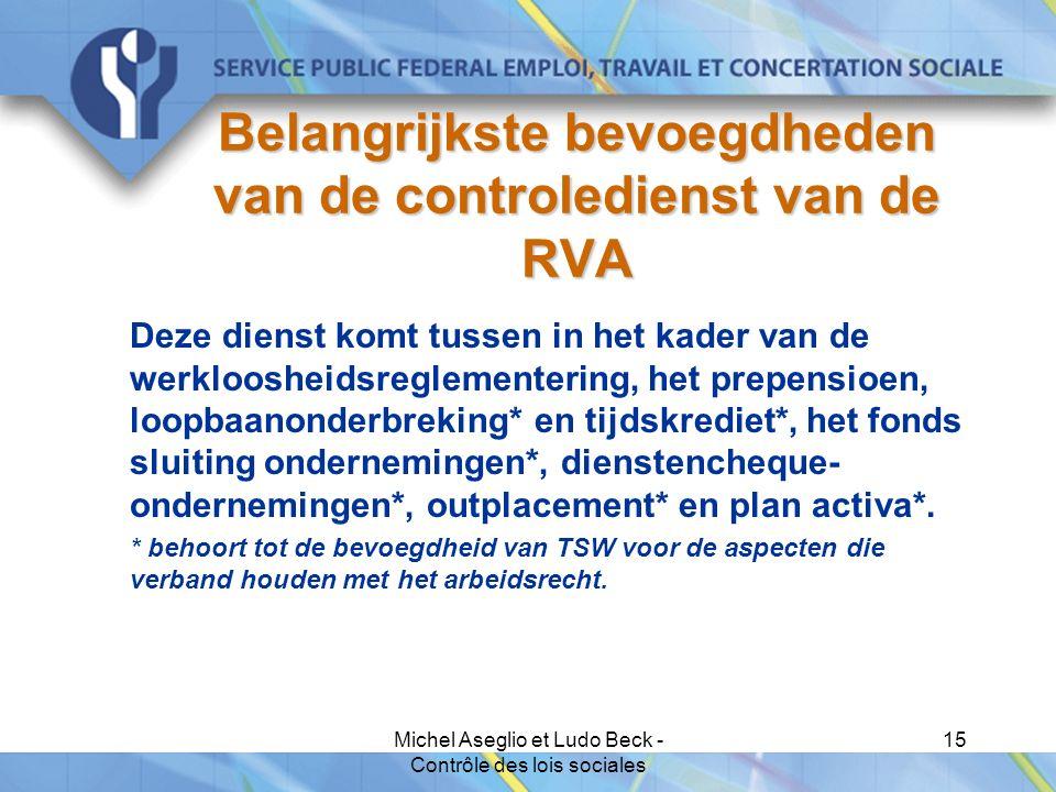 Michel Aseglio et Ludo Beck - Contrôle des lois sociales 15 Belangrijkste bevoegdheden van de controledienst van de RVA Deze dienst komt tussen in het kader van de werkloosheidsreglementering, het prepensioen, loopbaanonderbreking* en tijdskrediet*, het fonds sluiting ondernemingen*, dienstencheque- ondernemingen*, outplacement* en plan activa*.