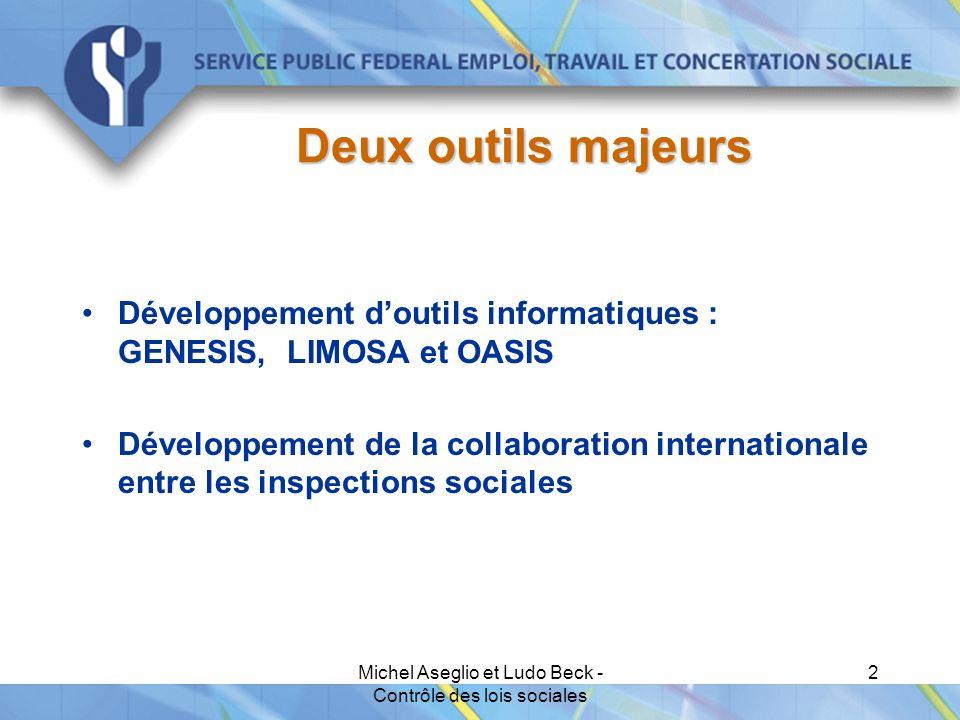 Michel Aseglio et Ludo Beck - Contrôle des lois sociales 2 Deux outils majeurs Développement d'outils informatiques : GENESIS, LIMOSA et OASIS Développement de la collaboration internationale entre les inspections sociales