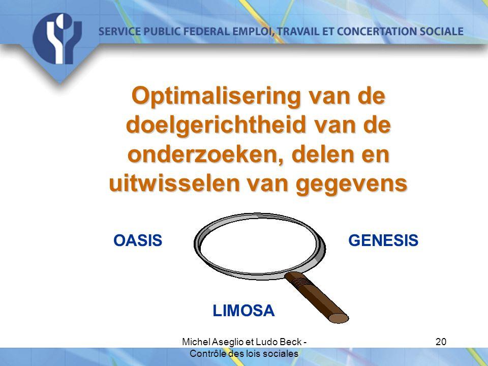Michel Aseglio et Ludo Beck - Contrôle des lois sociales 20 Optimalisering van de doelgerichtheid van de onderzoeken, delen en uitwisselen van gegevens OASIS GENESIS LIMOSA